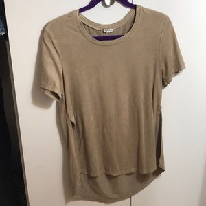 Suede tee with opening up the sides